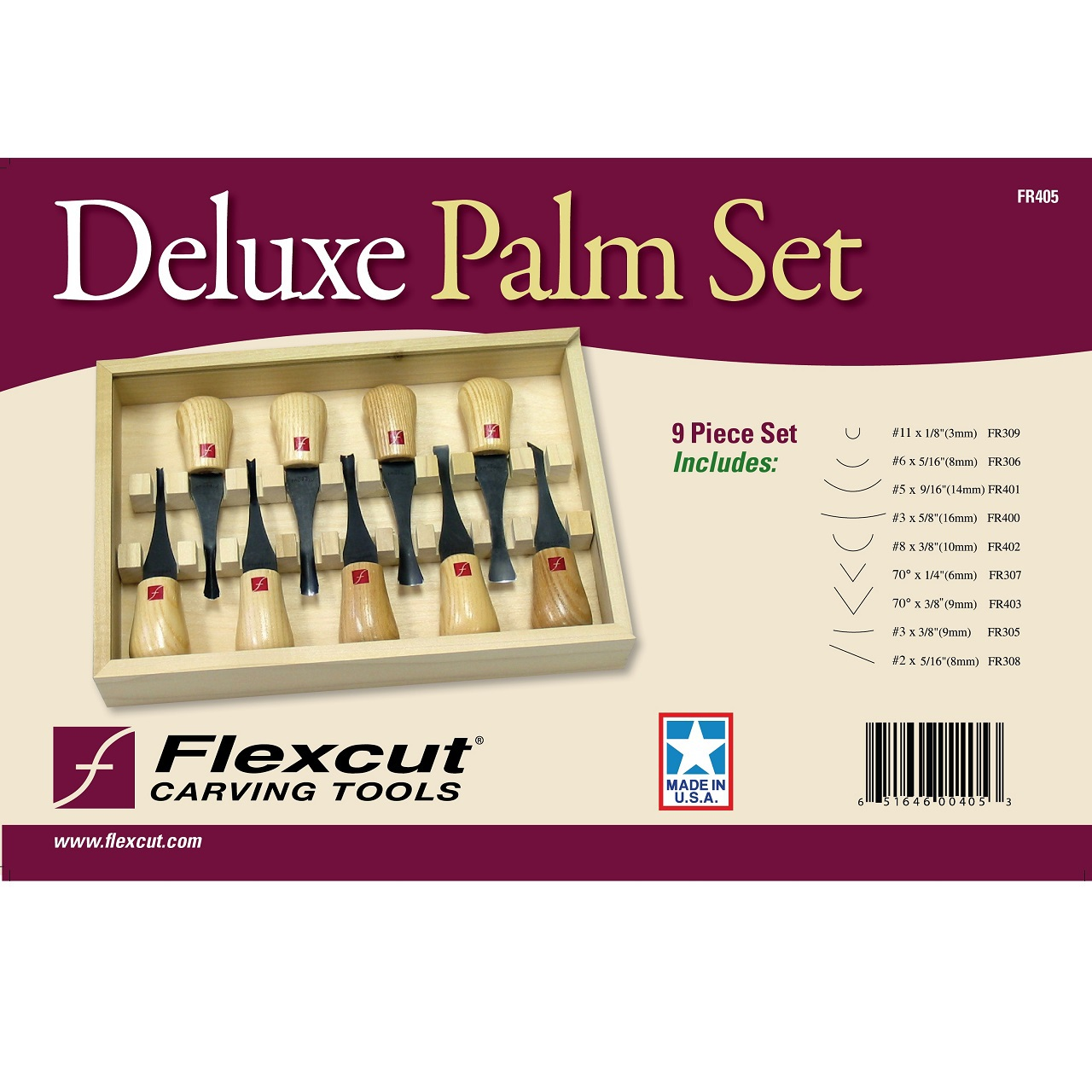 Flexcut Deluxe Woodcarving Palm Set FR405