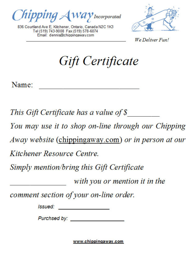 Woodcarver Gift Certificates