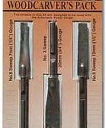 Arbortech Power Chisel Woodcarver Chisels 3 Pack